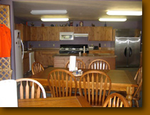 Hunting lodge kitchen and dining area.
